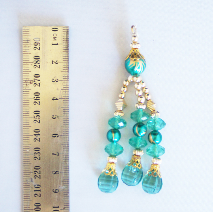 Aqua green and gold blingsal pack of 6